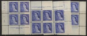 Canada - 1953 5c QE Karsh Ovpt. G Plate Blocks mint