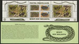 Moldova 74a Booklet MNH Snakes, Reptiles