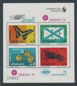 Uruguay #1007 NH Annivs.: Powered Flights, Phil. Exhib., Soccer, Ford Cars SS