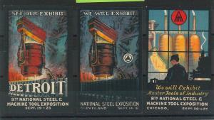 55205 - Set of 3 VINTAGE  POSTER STAMP Label - USA : STEEL EXHIBITS 1920'S
