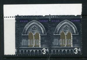 MALTA;  1965 early QEII issue fine Mint MLH CORNER MARGIN PAIR,  3d. value