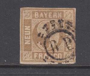 Bavaria Sc 12 used.1862 9kr bister Numeral, B.P. open Millwheel cancel, Bahnpost
