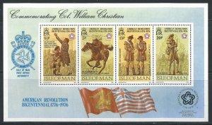 Isle of Man #81a MNH S/S CV$1.25 American Bicentennial Walter Christian