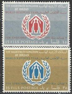 Jordan  369-70  MNH World Refugee Year