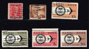 US STAMP Possessions CANAL ZONE AIR MAIL USED STAMPS COLLECTION LOT