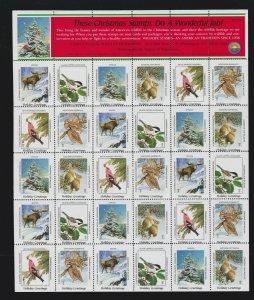 US 1987 National Wildlife Federation Mint Cinderella Christmas Stamp Sheet OG NH