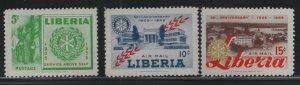 LIBERIA, 354,C97-C98,  (3) SET,  HINGED, 1955, 50th anniv. of Rotary intl.