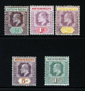 NORTHERN NIGERIA KE VII 1902 Wmk Crown CA Group SG 10 to SG 16 MINT