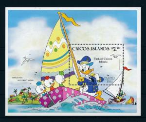 [22175] Caicos Islands 1984 Disney Donald Duck Nephews Sail Boat Easter MNH