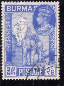BURMA BIRMANIA BIRMANIE MYANMAR 1946 KING GEORGE VI RE GIORGIO ELEPHANT HAULI...