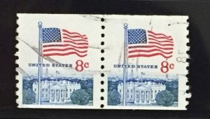US #1338G Used F/XF (Coil Pair) Flag Over Capitol