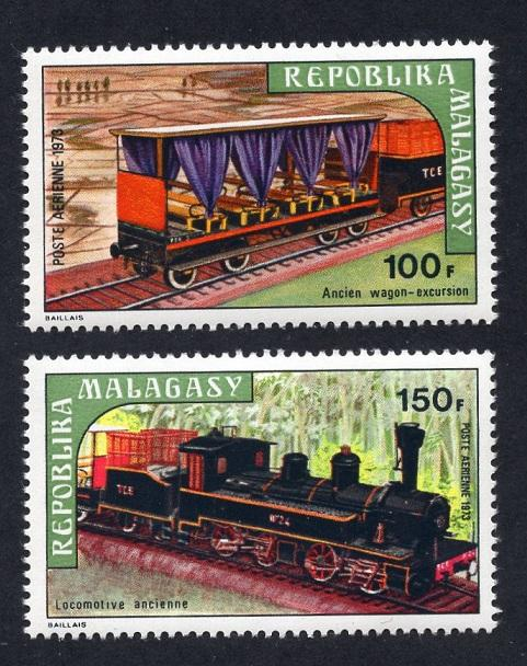 Malagasy Republic   #C114-C115   MNH  1973  steam locomotive