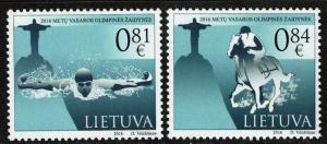 Lithuania #1082-83 MNH - Olympics Swimming Equestrian (2016)