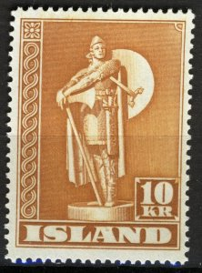 Iceland 1945, Statue Torfinn Karlsefni 10Kr perf 14, XF MNH Cat 25€