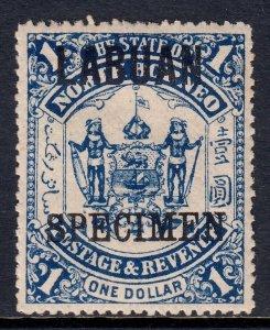 LABUAN — SCOTT 65s (SG 82s) — 1896 $1 SURCHARGE SPECIMEN — MH — SG £30