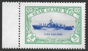 Guam Guard Mail 1981 Local Post U.S.S. SAN JOSE Ship VF-NH, dull gum