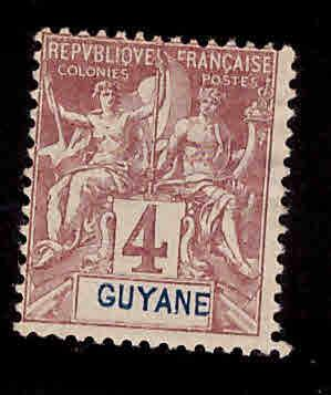 French Guiana Scott 34 MH* 1892 Navigation and commerce stamp