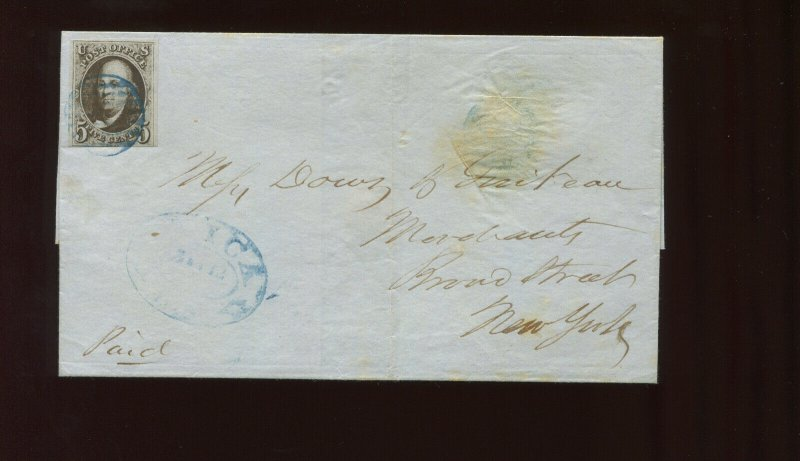 Scott 1a Franklin Imperf Used Stamp w/Blue 'UTICA NY' on Cover ex Ashbrook 1-211