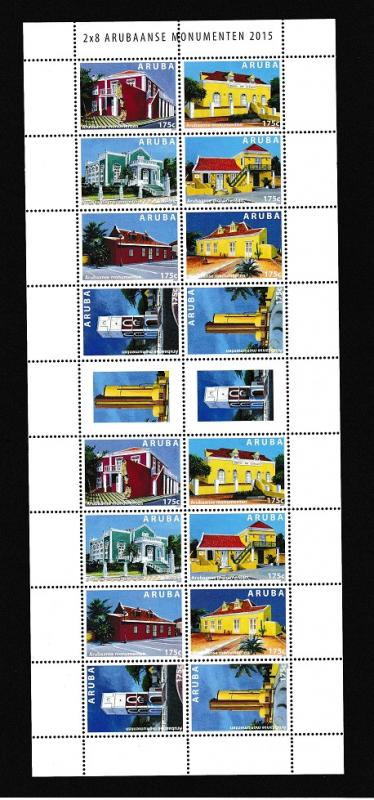 Aruba  #470   MNH  2015  sheet with 2  blocks of  8  historic buildngs
