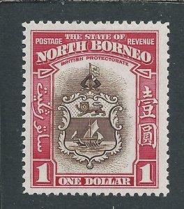NORTH BORNEO 1939 $1 BROWN & CARMINE MM SG 315 CAT £150