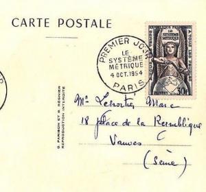 Z119 1954 France FDC Paris METRIC SYSTEM Postcard Premier Jour {samwells-covers}