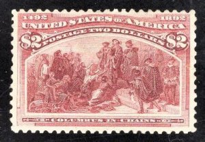 US Stamp #242 $2 Brown Red Columbus in Chains MINT NH OG SCV $3500.00