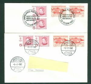 Greenland. 2 Covers 1982. Sørland 82.-Angmagssalik . Pair Scott# 86+79.Slania