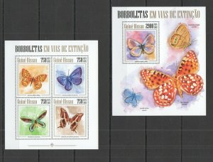 ST1190 2013 GUINEA-BISSAU BUTTERFLIES FAUNA EXTINCT KB+BL MNH STAMPS