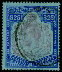MALAYSIA - Straits Settlements SG240b, $25 purple & blue/blue FINE used Cat £200
