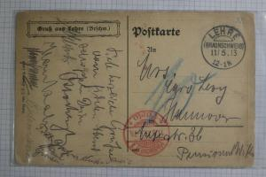 Germany Postcard Allied Field post Lehre soldier troop signed free 1913 DC