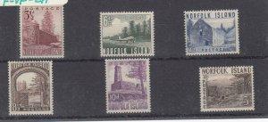 NORFOLK ISLAND (MM232) # 13-18 VF-MLH  VARp,sh  1953 LANDMARK DESIGNS CV $40