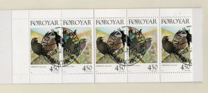 Faroe Islands Sc 331a 1998 Bird stamp booklet pane in booklet used