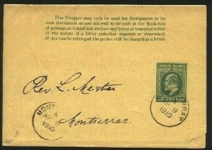 MONTSERRAT 1910 EVII ½d Leeward Is newspaper wrapper used locally..........94765