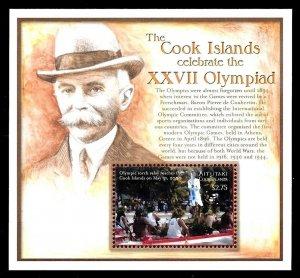 AITUTAKI - 2000- SUMMER OLYMPICS - SYDNEY - COUBERTIN + MINT MNH S/SHEET!