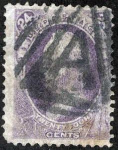 "US Sc 153 Violet 24¢ Fancy ""A"" in Triangle Cancel"
