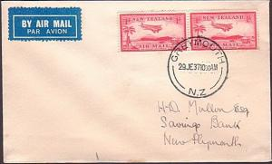 NEW ZEALAND 1937 First flight cover Greymouth to New Plymouth..............34888