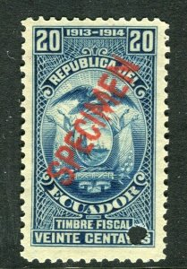 ECUADOR; Early 1900s fine Fiscal issue Mint MNH unmounted SPECIMEN 20c.