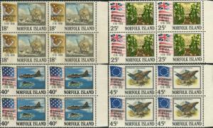 Norfolk Island 1976 SG172-175 American Revolution set blocks FU