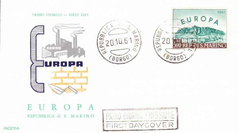 San Marino 1961 Europa Issue FDC  VF