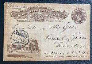 1901 Uruguay Postal Stationery Postcard  Cover To Koenigsberg Germany