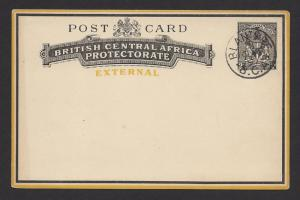 BRITISH CENTRAL AFRICA 1895 QV 2d Black Postal Card H&G No.5 BLANTYRE cds