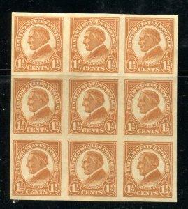 #576 1 1/2 cent Harding block of 9, Unused NG ⭐⭐⭐⭐⭐⭐
