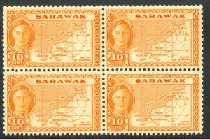 SARAWAK 1952 KGVI 10c MAP Pictorial Issue BLOCK 4 Scott No. 195 MNH