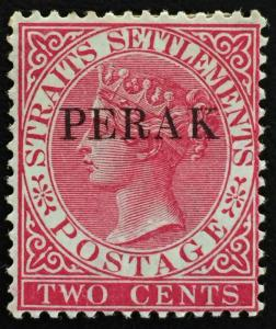 MALAYA 1886 Perak opt Straits Settlements QV 2c MH SG #20 T.17 MA1283