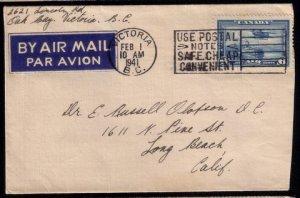 Canada Scott #C6  Airmail Postal History Cover VICTORIA B.C.(FEB 01,1941):
