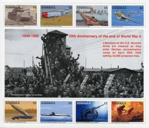 Dominica Stamps 1995 MNH WWII WW2 VE Day End World War II Tanks Aviation 8v M/S
