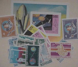IVORY COAST SPACE  1  SHEETLET & 17 DIFF. STAMPS  cat.$22.00 MINT NH