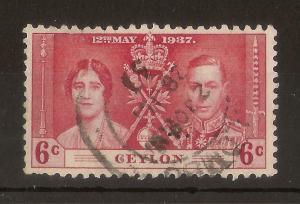 Ceylon 1937 6c Coronation Perfin