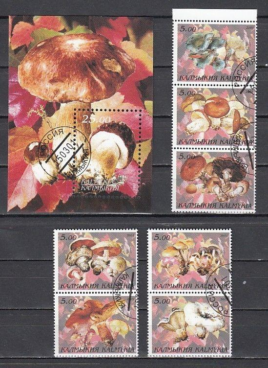 Kalmykia, 2001 Russian Local. Mushrooms set & S/sheet. Canceled, C.T.O.