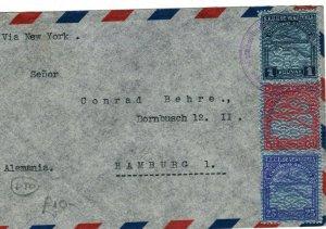 VENEZUELA Cover Coro CRUZADA SANITARIA Label Air Mail GERMANY Hamburg LS102